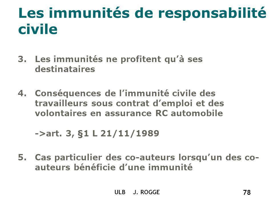 ULB J. ROGGE 78 Les immunités de responsabilité civile 3.Les immunités ne profitent quà ses destinataires 4.Conséquences de limmunité civile des trava