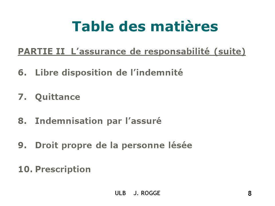 ULB J. ROGGE 8 Table des matières PARTIE II Lassurance de responsabilité (suite) 6.Libre disposition de lindemnité 7.Quittance 8.Indemnisation par las