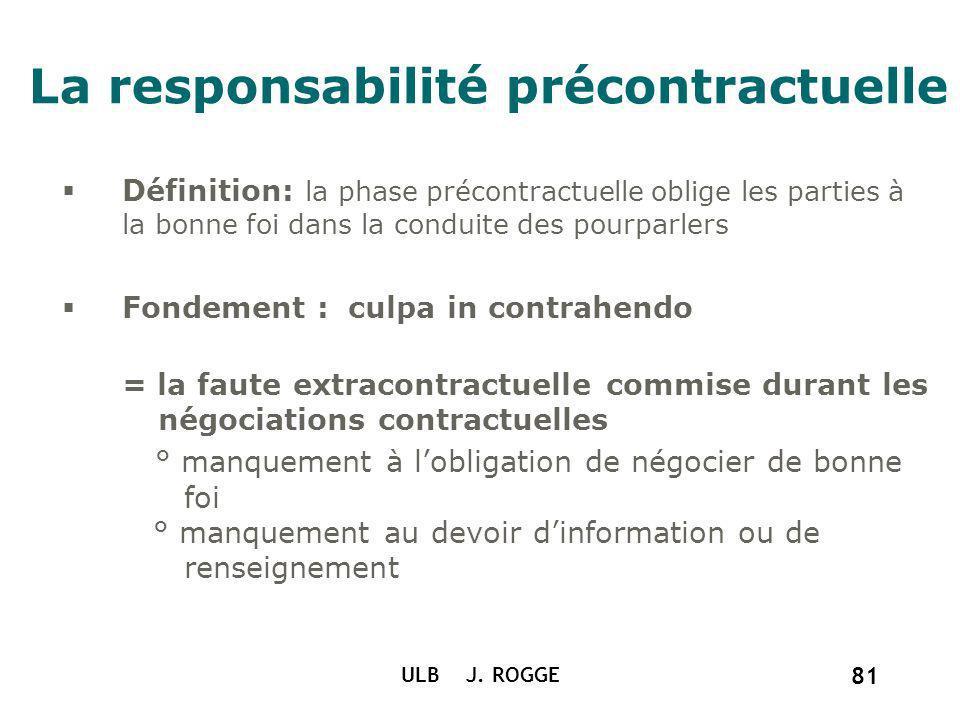 La responsabilité précontractuelle ULB J. ROGGE 81 Définition: la phase précontractuelle oblige les parties à la bonne foi dans la conduite des pourpa