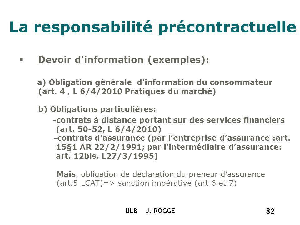 La responsabilité précontractuelle ULB J. ROGGE 82 Devoir dinformation (exemples): a) Obligation générale dinformation du consommateur (art. 4, L 6/4/
