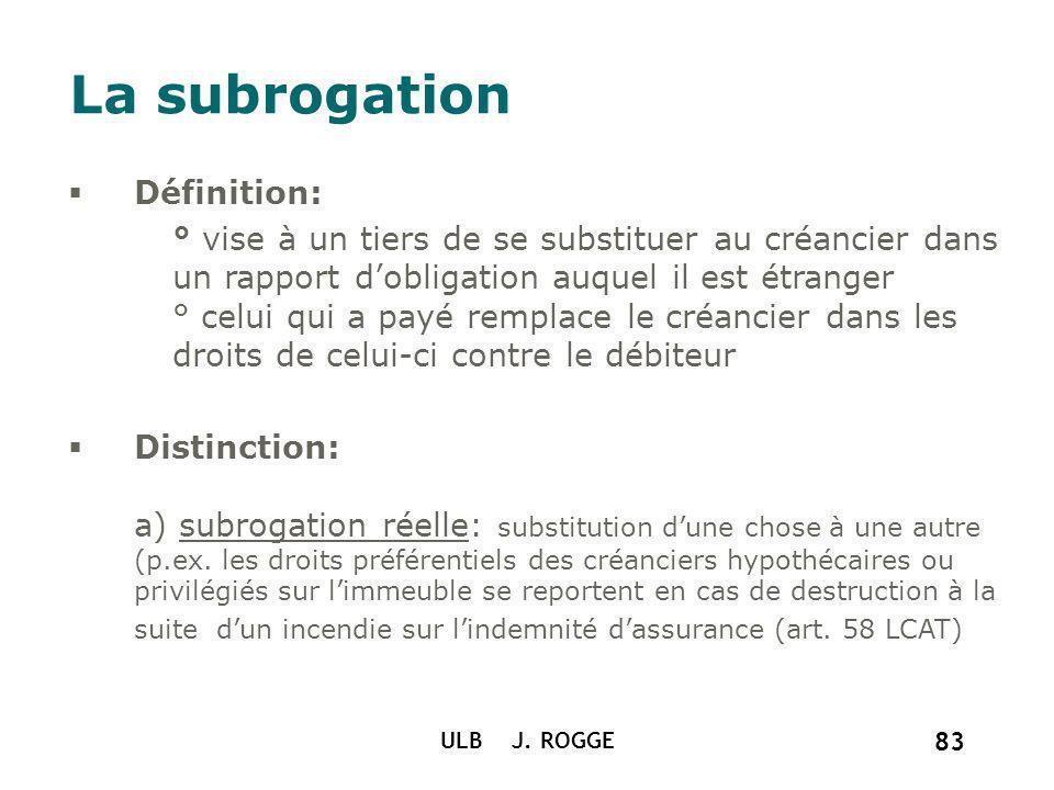 ULB J. ROGGE 83 La subrogation Définition: ° vise à un tiers de se substituer au créancier dans un rapport dobligation auquel il est étranger ° celui