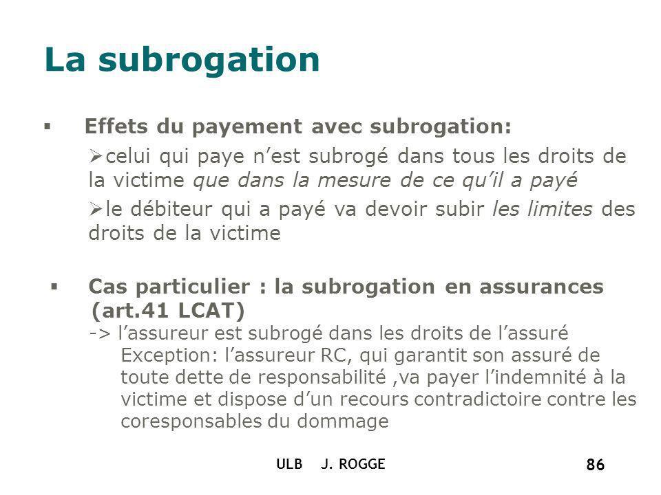 ULB J. ROGGE 86 La subrogation Effets du payement avec subrogation: celui qui paye nest subrogé dans tous les droits de la victime que dans la mesure