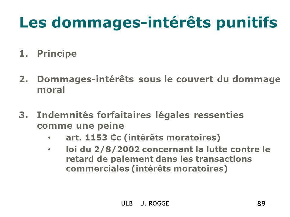 ULB J. ROGGE 89 Les dommages-intérêts punitifs 1.Principe 2.Dommages-intérêts sous le couvert du dommage moral 3.Indemnités forfaitaires légales resse