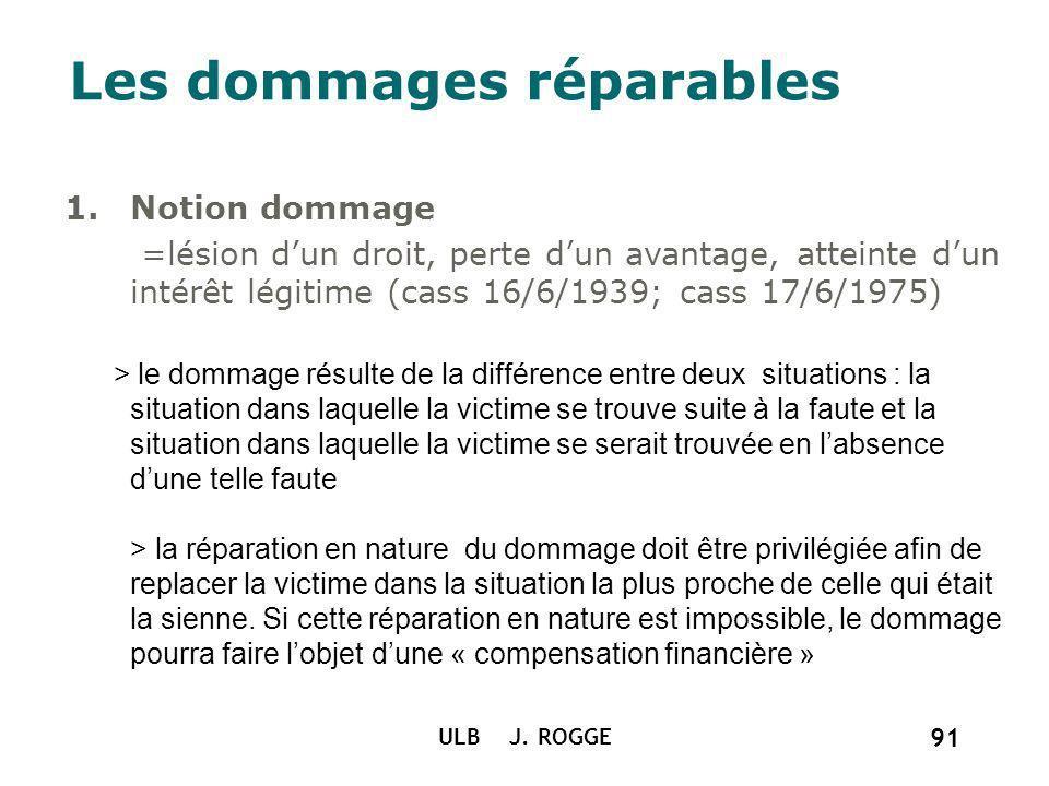 ULB J. ROGGE 91 Les dommages réparables 1.Notion dommage =lésion dun droit, perte dun avantage, atteinte dun intérêt légitime (cass 16/6/1939; cass 17