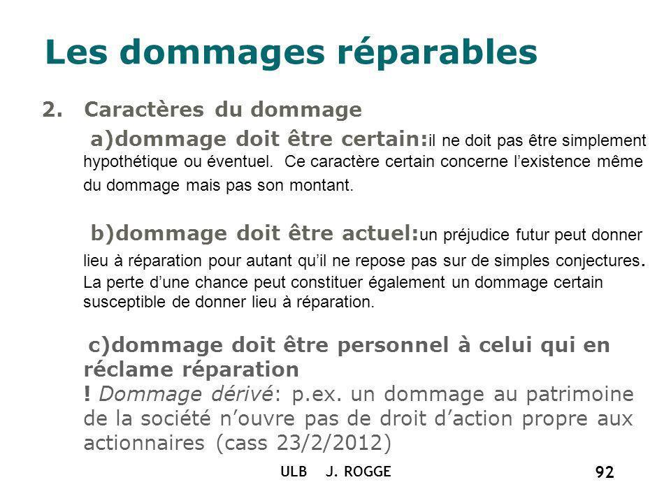 ULB J. ROGGE 92 Les dommages réparables 2. Caractères du dommage a)dommage doit être certain: il ne doit pas être simplement hypothétique ou éventuel.