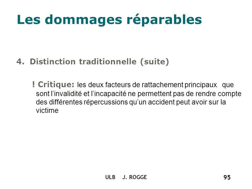 ULB J. ROGGE 95 Les dommages réparables 4. Distinction traditionnelle (suite) ! Critique: les deux facteurs de rattachement principaux que sont linval