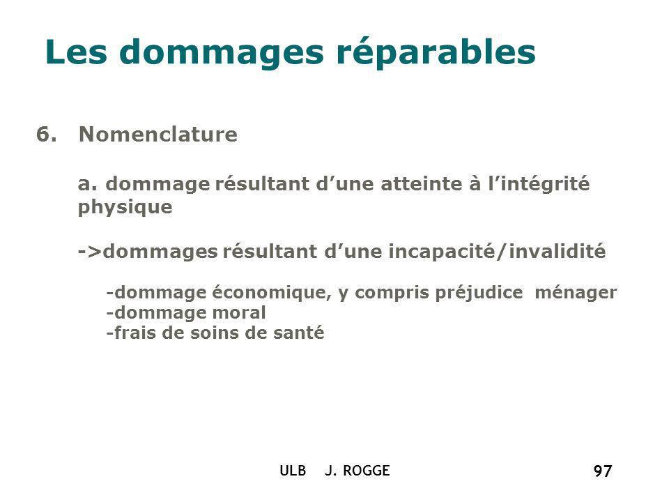 ULB J. ROGGE 97 Les dommages réparables 6. Nomenclature a. dommage résultant dune atteinte à lintégrité physique ->dommages résultant dune incapacité/