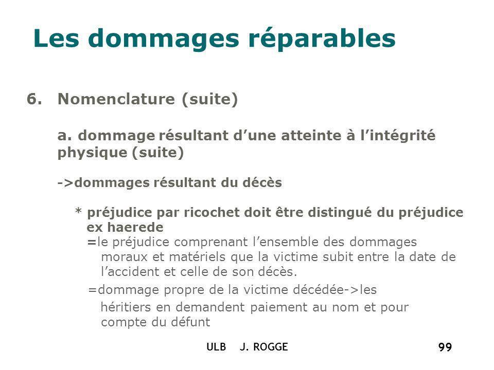 ULB J. ROGGE 99 Les dommages réparables 6.Nomenclature (suite) a. dommage résultant dune atteinte à lintégrité physique (suite) ->dommages résultant d
