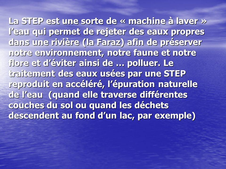 La STEP est une sorte de « machine à laver » leau qui permet de rejeter des eaux propres dans une rivière (la Faraz) afin de préserver notre environne