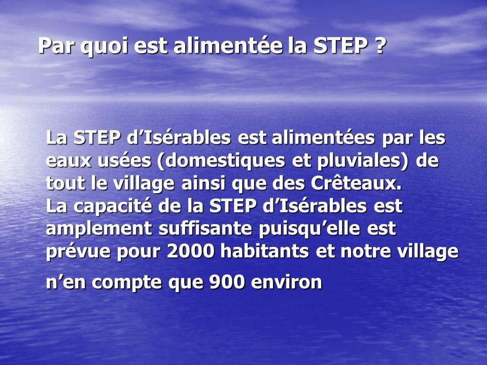 La STEP dIsérables est alimentées par les eaux usées (domestiques et pluviales) de tout le village ainsi que des Crêteaux. La capacité de la STEP dIsé