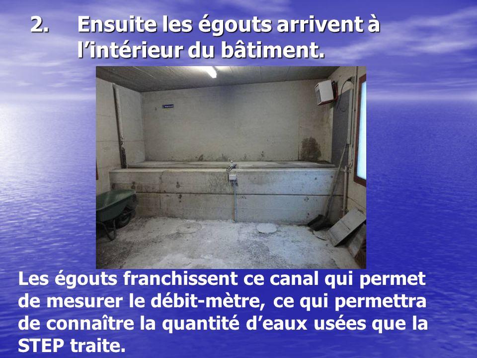 2.Ensuite les égouts arrivent à lintérieur du bâtiment. Les égouts franchissent ce canal qui permet de mesurer le débit-mètre, ce qui permettra de con