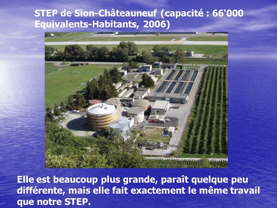 STEP de Sion-Châteauneuf (capacité : 66'000 Equivalents-Habitants, 2006) Elle est beaucoup plus grande, paraît quelque peu différente, mais elle fait