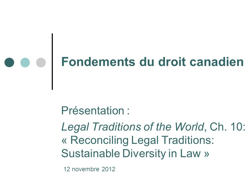 Fondements du droit canadien Présentation : Legal Traditions of the World, Ch.