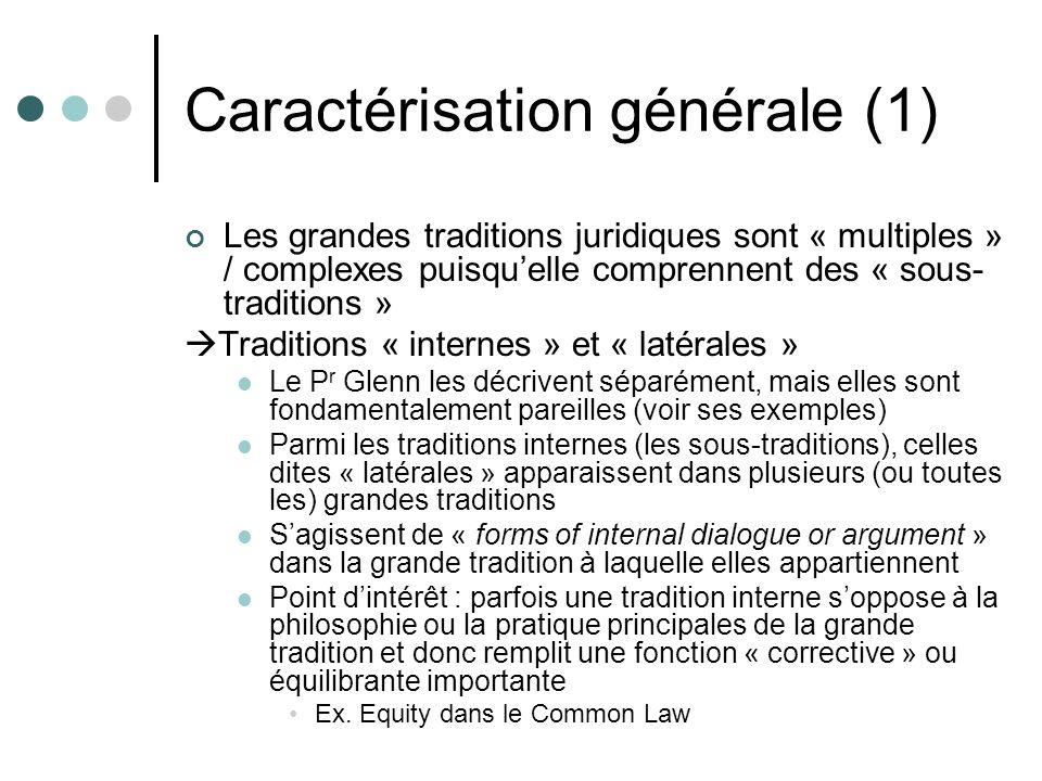Caractérisation générale (1) Les grandes traditions juridiques sont « multiples » / complexes puisquelle comprennent des « sous- traditions » Traditio