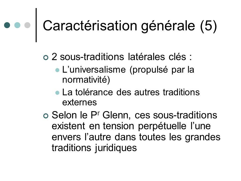 Caractérisation générale (5) 2 sous-traditions latérales clés : Luniversalisme (propulsé par la normativité) La tolérance des autres traditions extern
