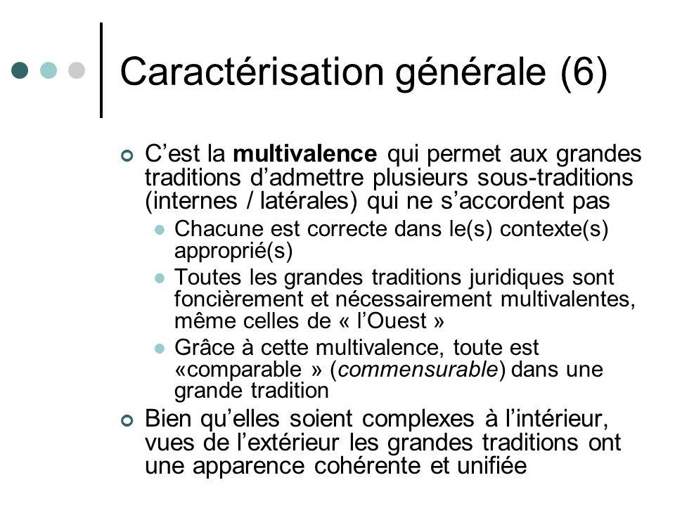 Caractérisation générale (6) Cest la multivalence qui permet aux grandes traditions dadmettre plusieurs sous-traditions (internes / latérales) qui ne