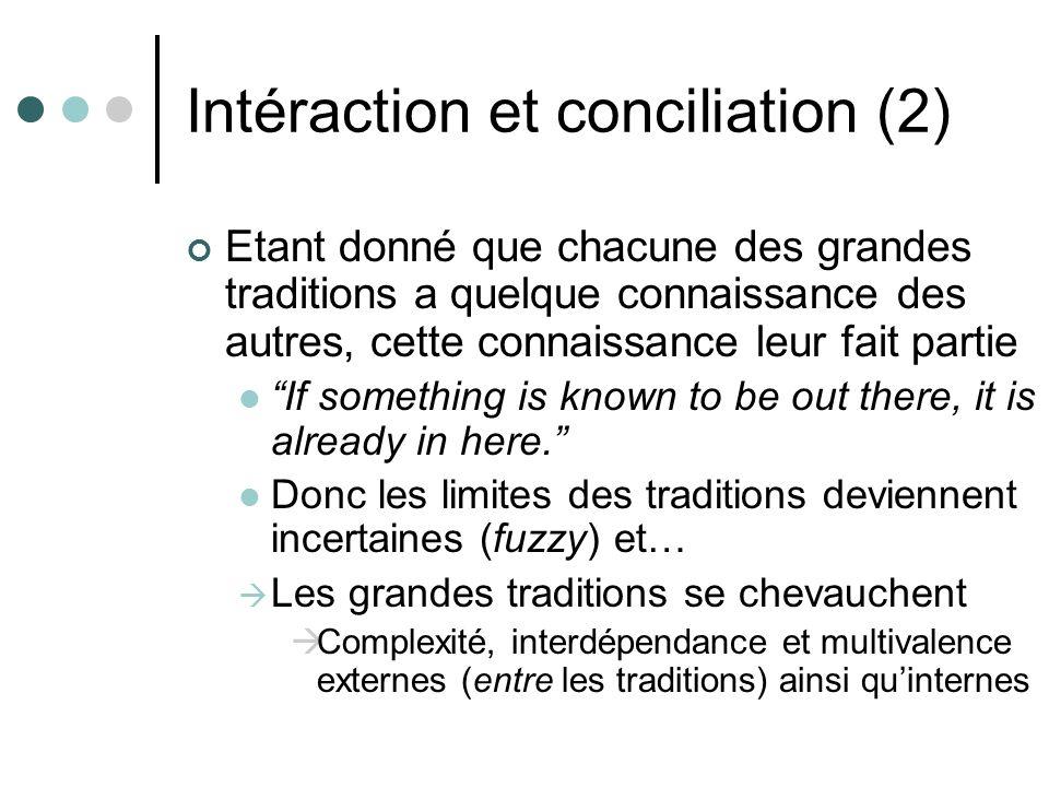 Intéraction et conciliation (2) Etant donné que chacune des grandes traditions a quelque connaissance des autres, cette connaissance leur fait partie