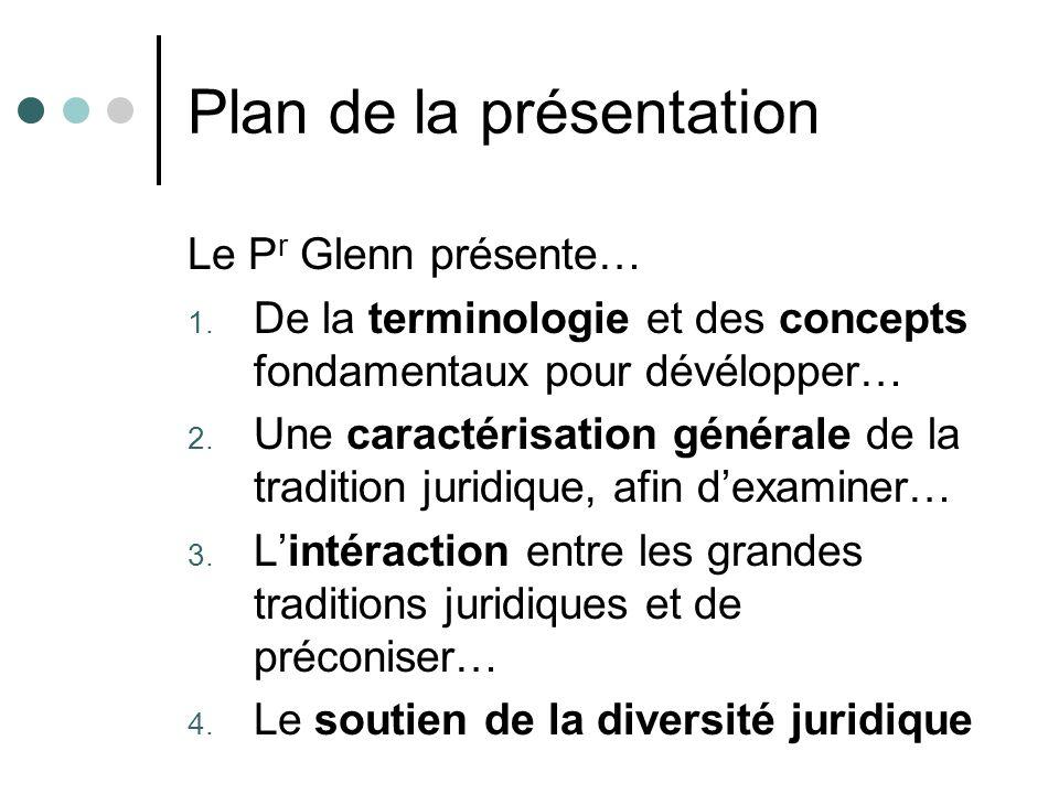 Plan de la présentation Le P r Glenn présente… 1. De la terminologie et des concepts fondamentaux pour dévélopper… 2. Une caractérisation générale de