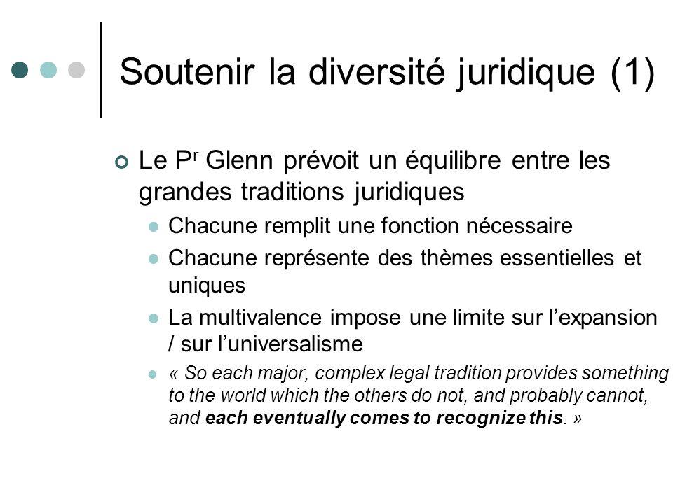 Soutenir la diversité juridique (1) Le P r Glenn prévoit un équilibre entre les grandes traditions juridiques Chacune remplit une fonction nécessaire