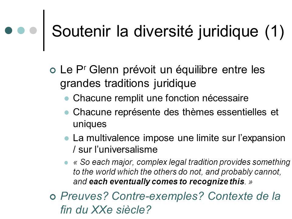 Soutenir la diversité juridique (1) Le P r Glenn prévoit un équilibre entre les grandes traditions juridique Chacune remplit une fonction nécessaire C