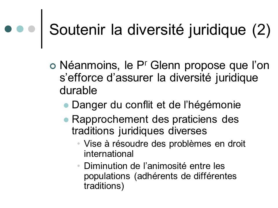 Soutenir la diversité juridique (2) Néanmoins, le P r Glenn propose que lon sefforce dassurer la diversité juridique durable Danger du conflit et de l