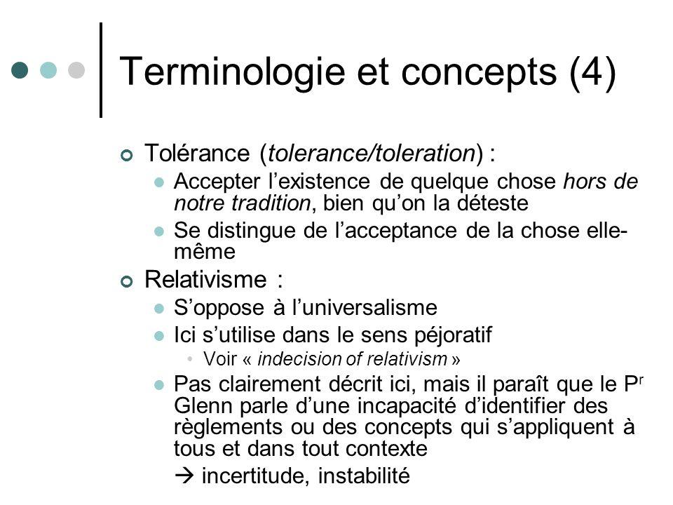 Terminologie et concepts (4) Tolérance (tolerance/toleration) : Accepter lexistence de quelque chose hors de notre tradition, bien quon la déteste Se