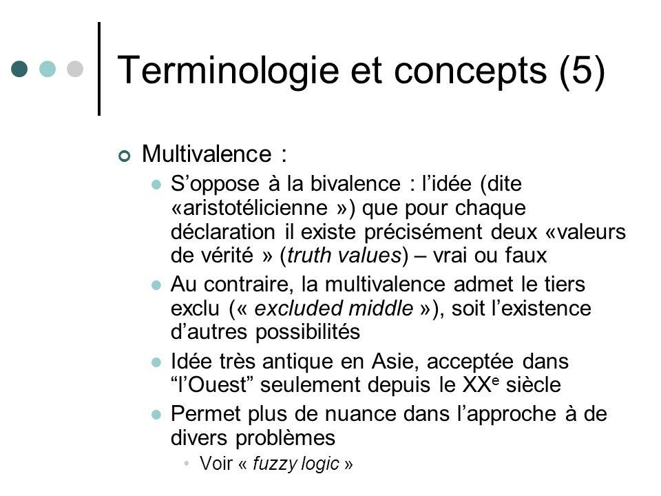 Terminologie et concepts (5) Multivalence : Soppose à la bivalence : lidée (dite «aristotélicienne ») que pour chaque déclaration il existe précisémen