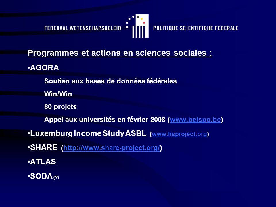 Programmes et actions en sciences sociales : AGORA Soutien aux bases de données fédérales Win/Win 80 projets Appel aux universités en février 2008 (www.belspo.be)www.belspo.be Luxemburg Income Study ASBL (www.lisproject.org)www.lisproject.org SHARE (http://www.share-project.org/)http://www.share-project.org/ ATLAS SODA ( )