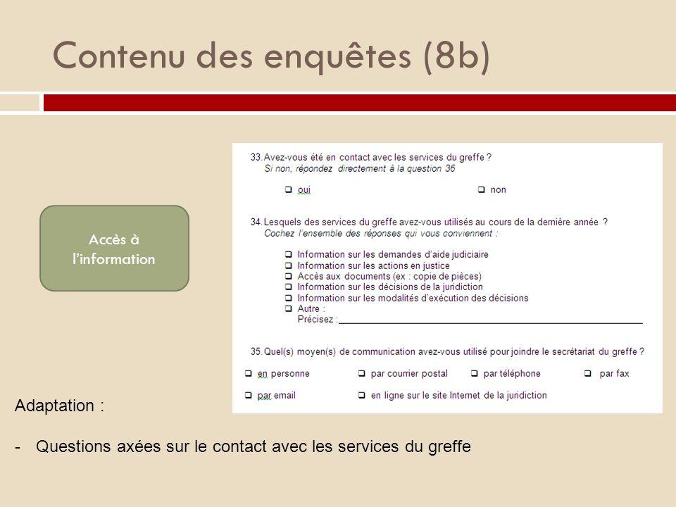 Contenu des enquêtes (8b) Accès à linformation Adaptation : -Questions axées sur le contact avec les services du greffe