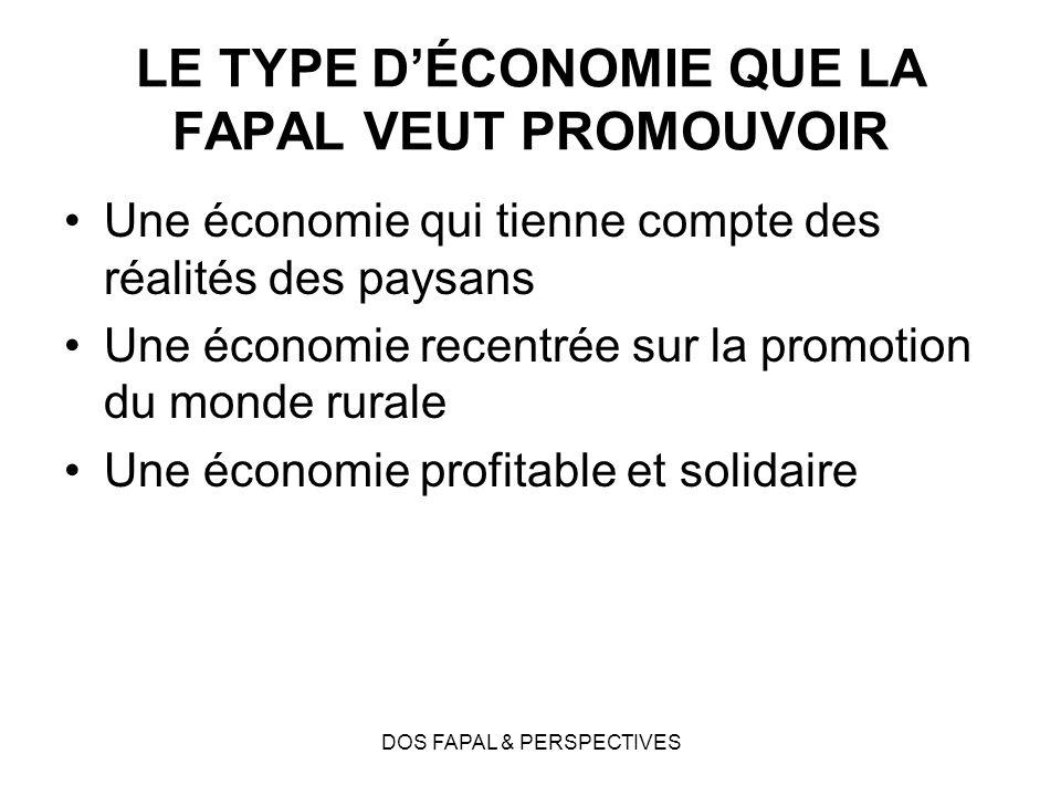 DOS FAPAL & PERSPECTIVES LE TYPE DÉCONOMIE QUE LA FAPAL VEUT PROMOUVOIR Une économie qui tienne compte des réalités des paysans Une économie recentrée