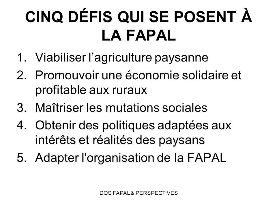 DOS FAPAL & PERSPECTIVES CINQ DÉFIS QUI SE POSENT À LA FAPAL 1.Viabiliser lagriculture paysanne 2.Promouvoir une économie solidaire et profitable aux