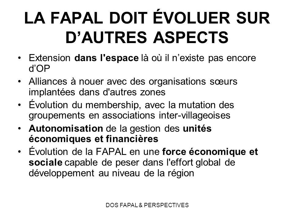 DOS FAPAL & PERSPECTIVES LA FAPAL DOIT ÉVOLUER SUR DAUTRES ASPECTS Extension dans l'espace là où il nexiste pas encore dOP Alliances à nouer avec des