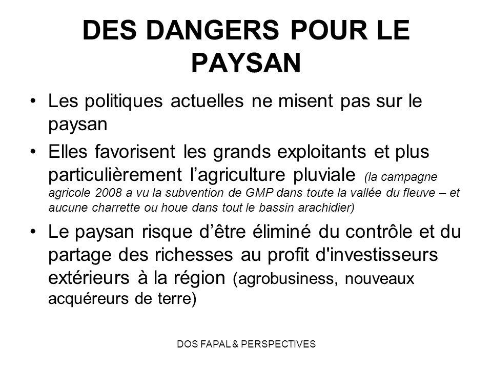 DOS FAPAL & PERSPECTIVES DES DANGERS POUR LE PAYSAN Les politiques actuelles ne misent pas sur le paysan Elles favorisent les grands exploitants et pl
