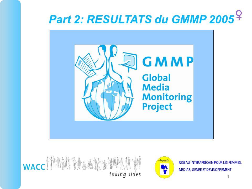 1 Part 2: RESULTATS du GMMP 2005