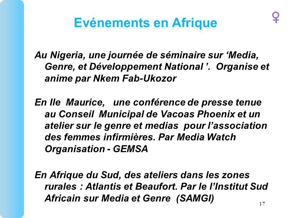 17 Evénements en Afrique Au Nigeria, une journée de séminaire sur Media, Genre, et Développement National.