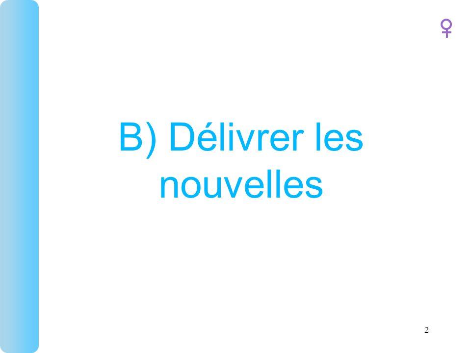 B) Délivrer les nouvelles 2
