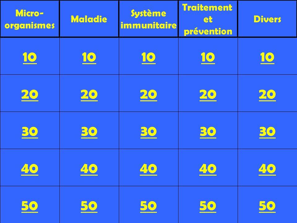 20 30 40 50 10 20 30 40 50 10 20 30 40 50 10 20 30 40 50 10 20 30 40 50 10 Micro- organismes Maladie Système immunitaire Traitement et prévention Dive