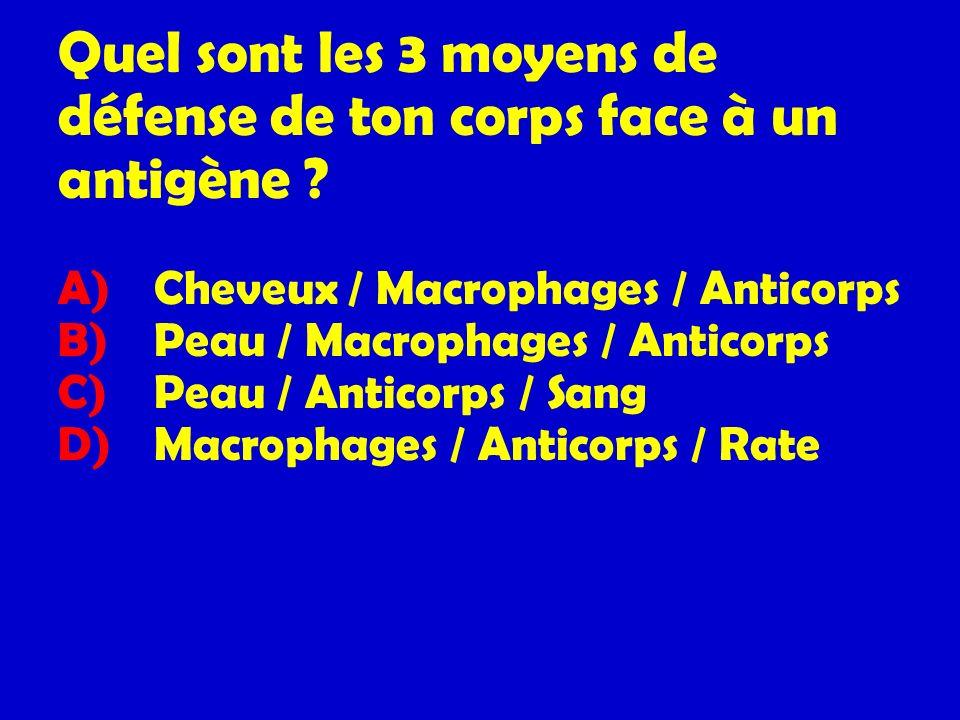 Quel sont les 3 moyens de défense de ton corps face à un antigène ? A) Cheveux / Macrophages / Anticorps B) Peau / Macrophages / Anticorps C) Peau / A