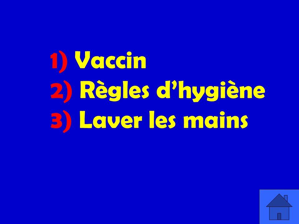 1) Vaccin 2) Règles dhygiène 3) Laver les mains