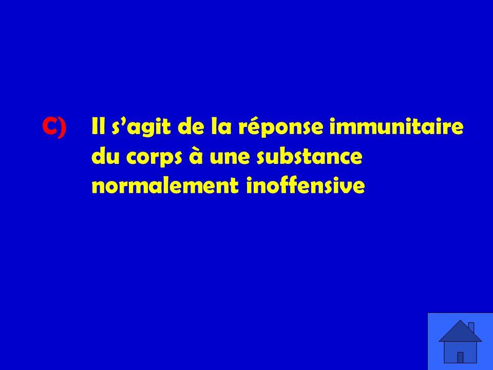C) Il sagit de la réponse immunitaire du corps à une substance normalement inoffensive