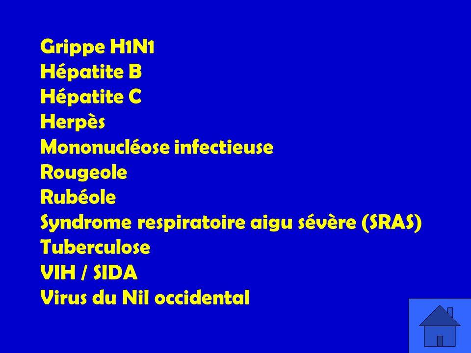 Grippe H1N1 Hépatite B Hépatite C Herpès Mononucléose infectieuse Rougeole Rubéole Syndrome respiratoire aigu sévère (SRAS) Tuberculose VIH / SIDA Vir