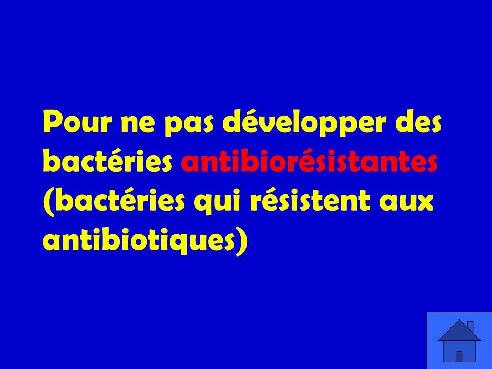 Pour ne pas développer des bactéries antibiorésistantes (bactéries qui résistent aux antibiotiques)