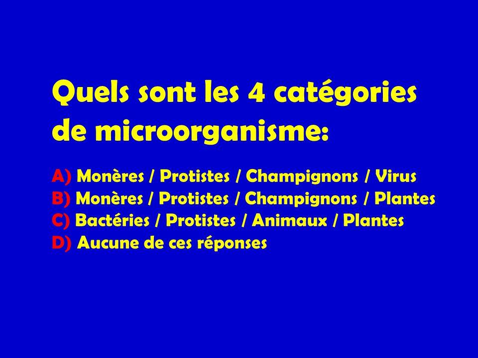 Quels sont les 4 catégories de microorganisme: A) Monères / Protistes / Champignons / Virus B) Monères / Protistes / Champignons / Plantes C) Bactérie