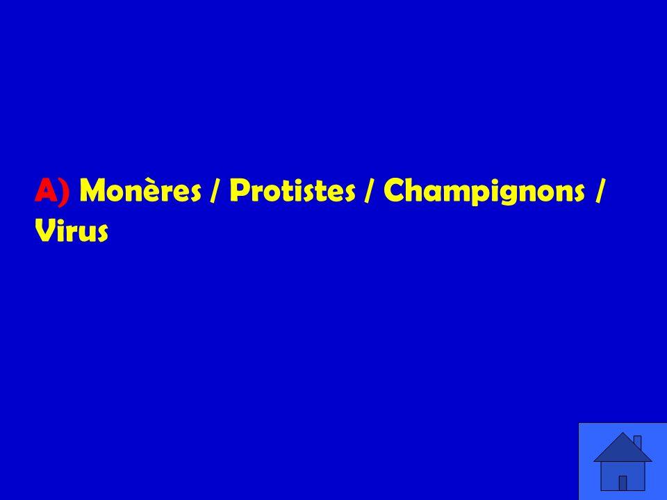 A) Monères / Protistes / Champignons / Virus