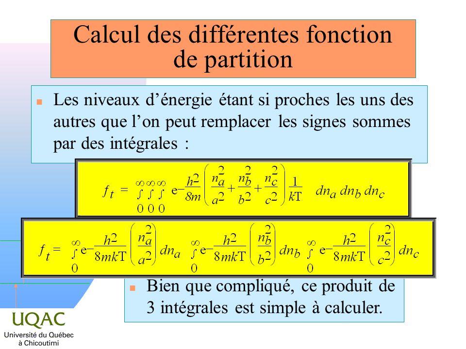 h n Les niveaux dénergie étant si proches les uns des autres que lon peut remplacer les signes sommes par des intégrales : n Bien que compliqué, ce pr