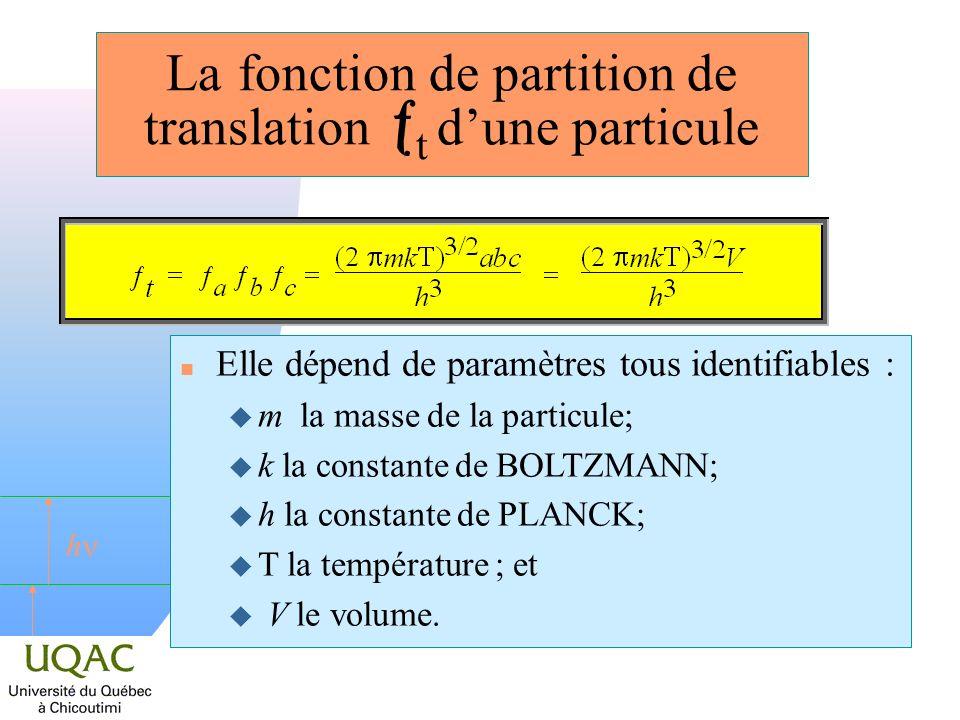 h La fonction de partition de translation t dune particule n Elle dépend de paramètres tous identifiables : u m la masse de la particule; u k la const