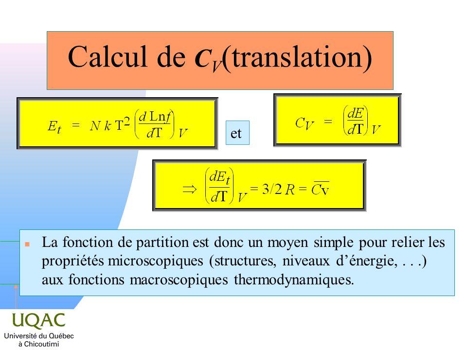 h Calcul de C V (translation) n La fonction de partition est donc un moyen simple pour relier les propriétés microscopiques (structures, niveaux déner