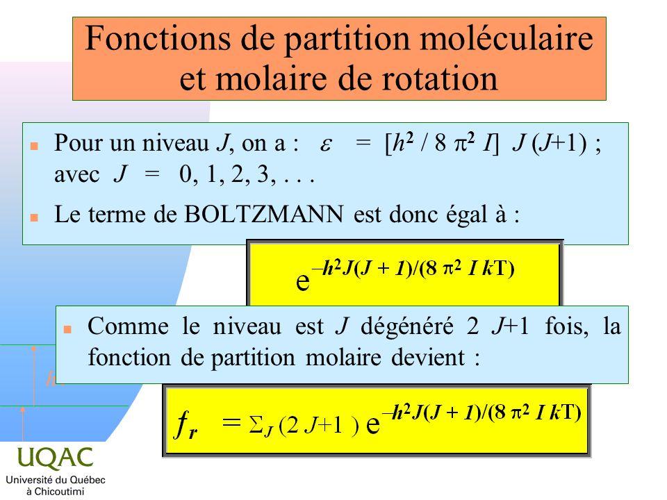 h Fonctions de partition moléculaire et molaire de rotation Pour un niveau J, on a : = [h 2 / 8 2 I] J (J+1) ; avec J = 0, 1, 2, 3,... n Le terme de B