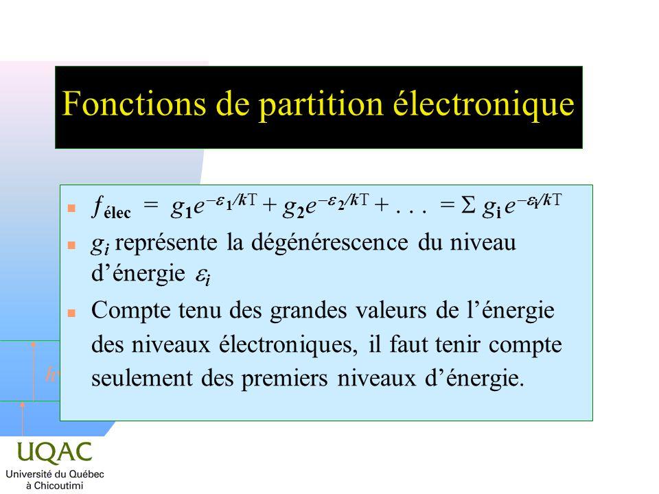 h Fonctions de partition électronique élec = g 1 e 1 /kT + g 2 e 2 /kT +... = g i e i /kT g i représente la dégénérescence du niveau dénergie i n Comp