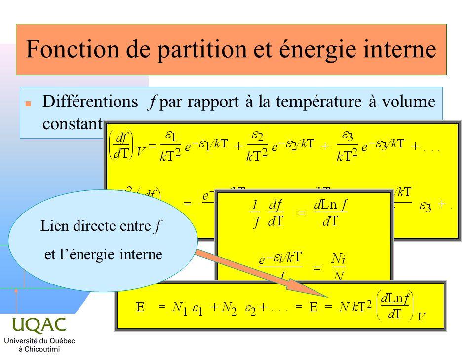 h Autre exemple de lien n La chaleur spécifique à volume constant se déduit par : n Si N est le nombre dAVOGADRO, alors C V est identique à :